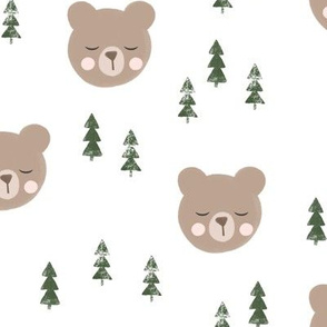 baby bear with trees