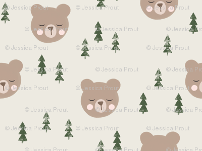 baby bear and trees - beige