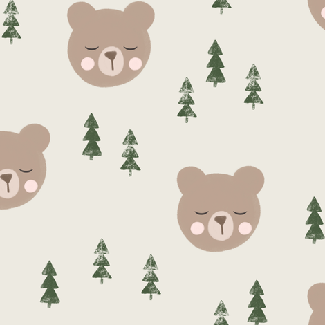 baby bear and trees - beige fabric by littlearrowdesign on Spoonflower - custom fabric