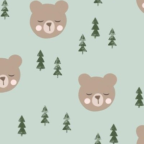 baby bear with trees - light green