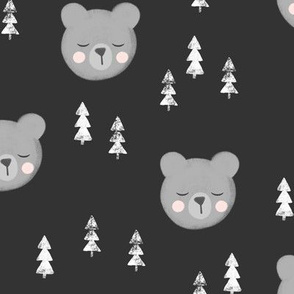 baby bears with trees - dark grey