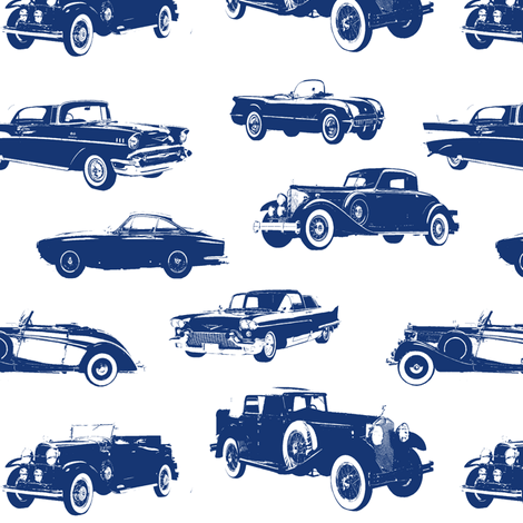 Blue Vintage Cars fabric by thinlinetextiles on Spoonflower - custom fabric