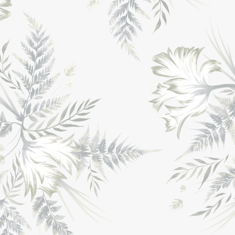 Parrot Tulips & Ferns - White fabric by andreaalice on Spoonflower - custom fabric