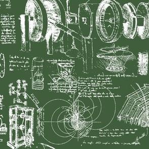 Da Vinci's Sketchbook // Hunter Green // Small
