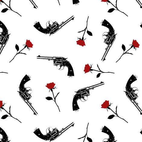 Guns & Red Roses // Small fabric by thinlinetextiles on Spoonflower - custom fabric