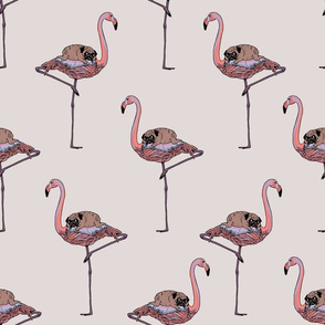 Flamingo and pug