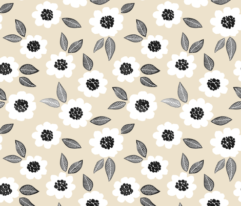 Simple Floral - white/linen fabric by jenuine_designs on Spoonflower - custom fabric