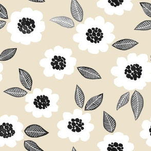 Simple Floral - white/linen