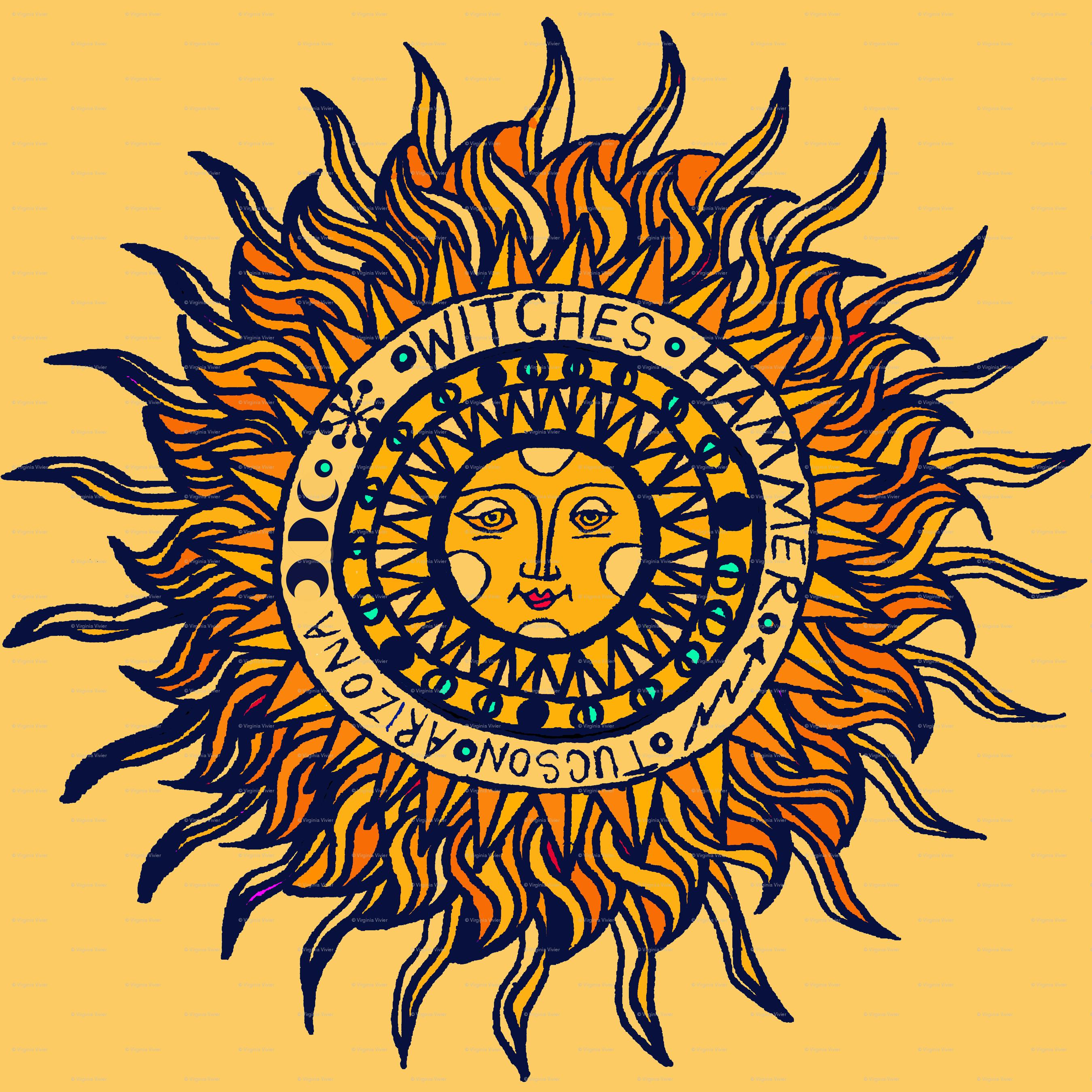 Southwest Folk Art Sun giftwrap - vagabond_folk_art