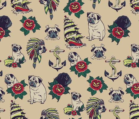 Pugs Tattoo fabric by huebucket on Spoonflower - custom fabric