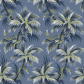 Snake Palms - Light Blue/Gold - AndreaAlice