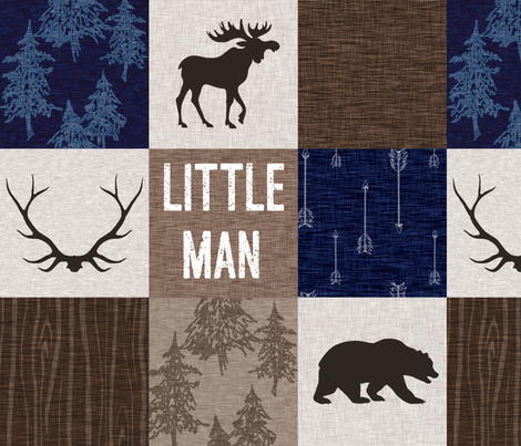 Little Man Quilt - Navy and Tan - Moose Bear Antlers Arrows Woodland Forest fabric by sugarpinedesign on Spoonflower - custom fabric