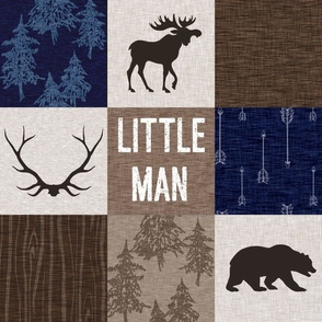 Little Man Quilt - Navy and Tan - Moose Bear Antlers Arrows Woodland Forest