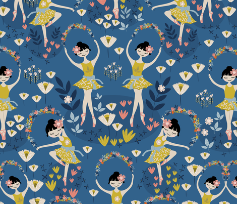 Sleeping Beauty - Garland Waltz fabric by melarmstrongdesign on Spoonflower - custom fabric