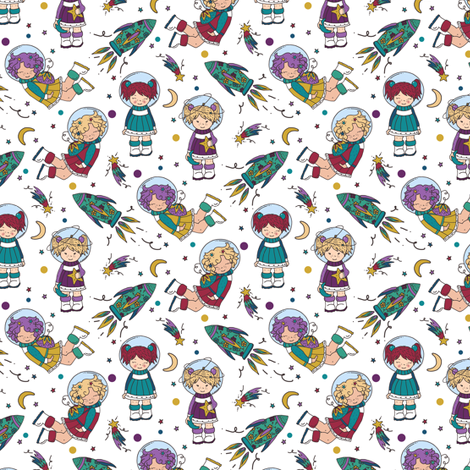 You're Outta This World on White - Tiny fabric by gingerlique on Spoonflower - custom fabric