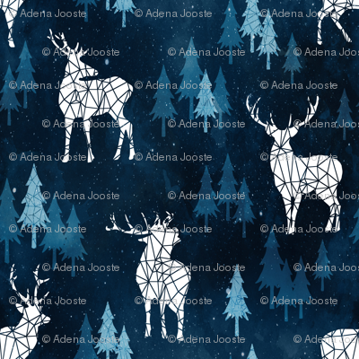 Ice Forest Deer Deep Blue