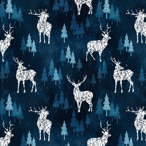 Ice Forest Deer Deep Blue