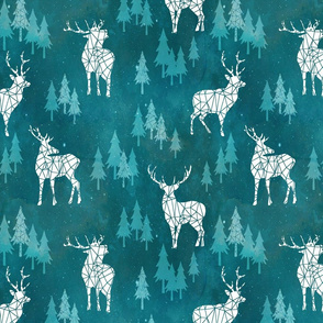 Ice Forest Deer Turquoise