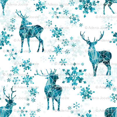 Ice Forest Deer with Snowflakes