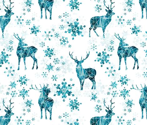 Ice Forest Deer with Snowflakes fabric by adenaj on Spoonflower - custom fabric