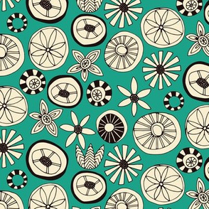 summer flowers teal small