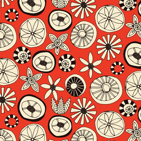 summer flowers fire small fabric by scrummy on Spoonflower - custom fabric