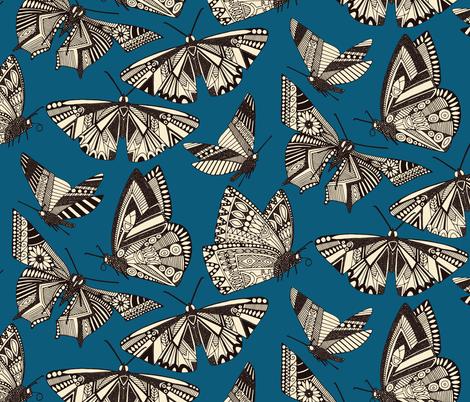 summer butterflies blue fabric by scrummy on Spoonflower - custom fabric