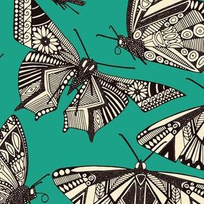 summer butterflies teal
