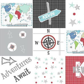 Adventures Await Quilt 42- black red PERSONALIZED Kevin