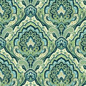 Paisley Damask Green