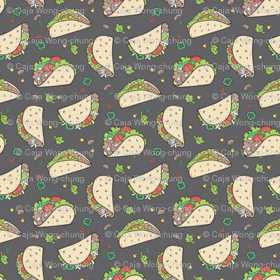 Tacos Food on Dark Grey Charcoal