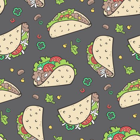 Tacos Food on Dark Grey Charcoal fabric by caja_design on Spoonflower - custom fabric