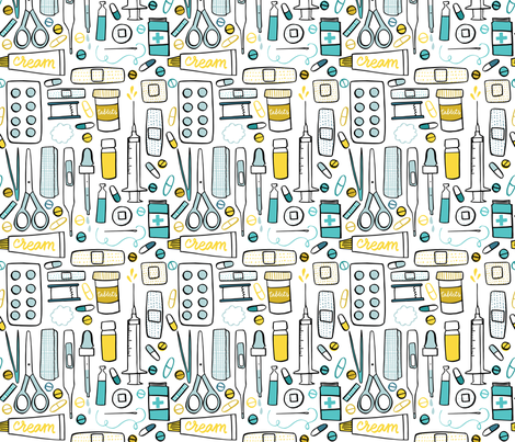 First aid kit bright colors fabric by natalia_gonzalez on Spoonflower - custom fabric