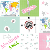 Adventures Await Quilt 42-  pink green- PERSONALIZED Evelyn