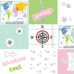 Adventures Await Quilt 42-  pink green- PERSONALIZED Kensley