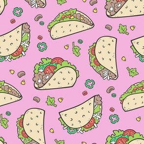 Tacos Food on Magenta Pink