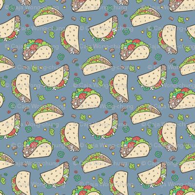 Tacos Food on Dark Blue Navy