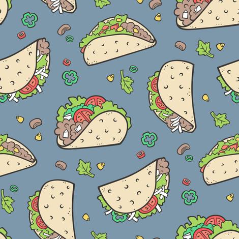Tacos Food on Dark Blue Navy fabric by caja_design on Spoonflower - custom fabric