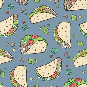 Tacos Food on Dark Blue Navy