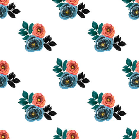 """4"""" Girl Power Florals / White fabric by rebelmod on Spoonflower - custom fabric"""