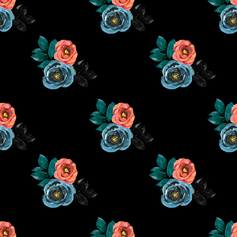 "4"" Girl Power Florals / black fabric by rebelmod on Spoonflower - custom fabric"