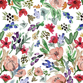 Watercolor Tossed Floral 01