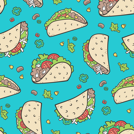 Tacos Food on Blue fabric by caja_design on Spoonflower - custom fabric