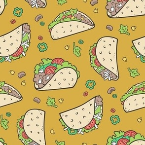 Tacos Food on Mustard Yellow