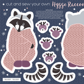 Cut and sew your own hygge raccoon // pink