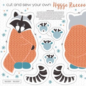 Cut and sew your own hygge raccoon // orange