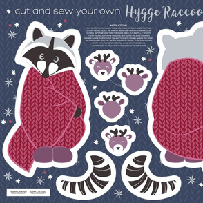 Cut and sew your own hygge raccoon // red
