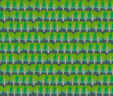farm trees_summer green night fabric by kheckart on Spoonflower - custom fabric