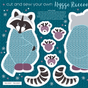 Cut and sew your own hygge raccoon // blue
