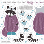 Cut and sew your own hygge raccoon // purple